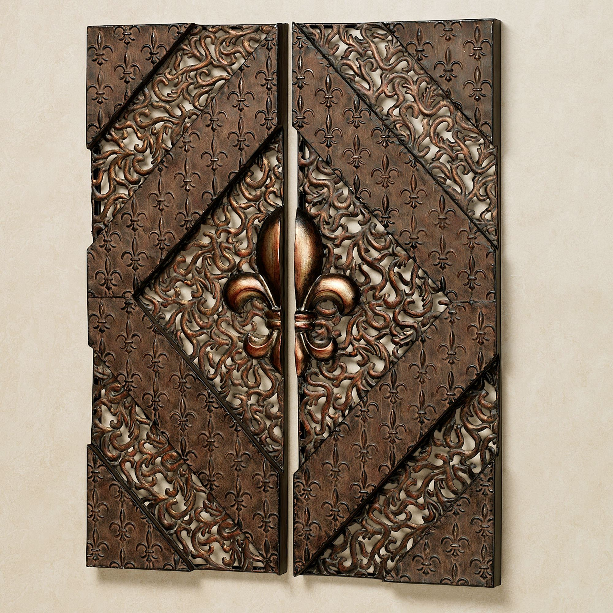 Fleur De Lis Metal Wall Panel Set With Well Known 2 Piece Metal Wall Decor Sets By Fleur De Lis Living (View 3 of 20)