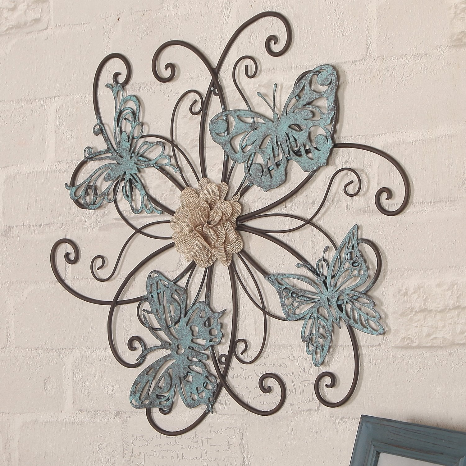 Flower And Butterfly Urban Design Metal Wall Decor For Newest Shop Adeco Flower And Butterfly Urban Design Metal Wall Decor For (View 4 of 20)