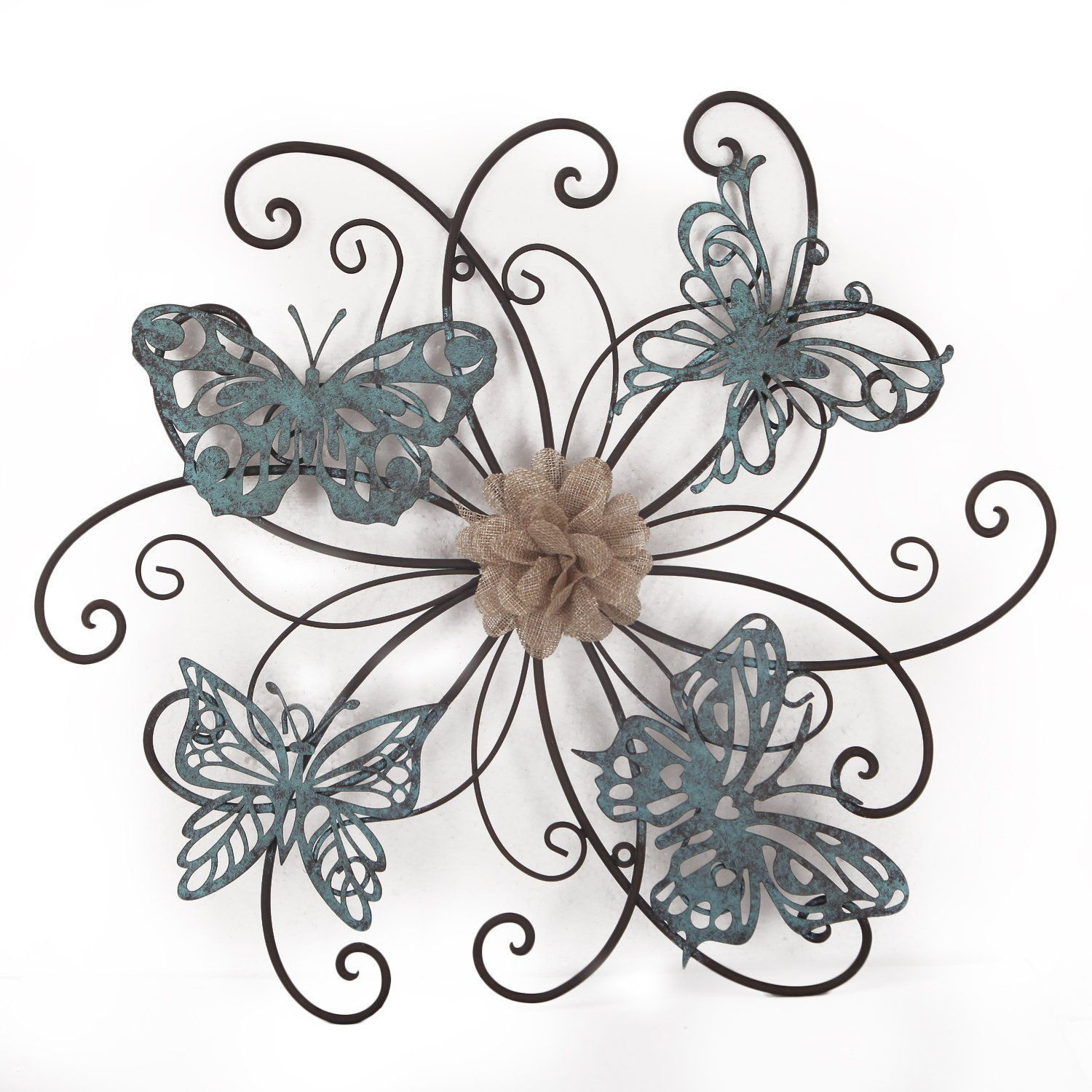 Flower And Butterfly Urban Design Metal Wall Decor intended for Best and Newest Adeco Flower And Butterfly Urban Design Metal (Grey) Wall Decor For