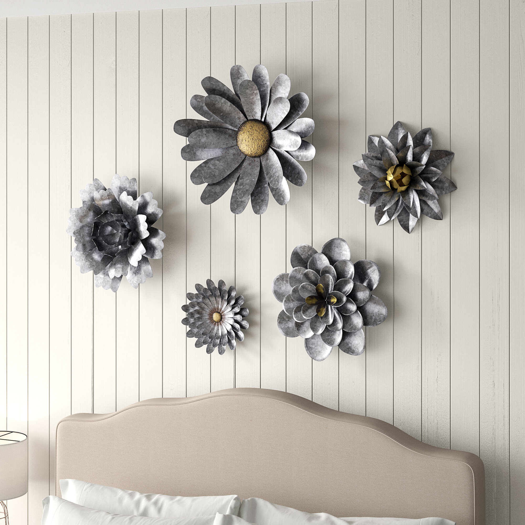 Flower Wall Decor throughout Latest Gracie Oaks 5 Piece Galvanized Metal Flower Hanging Wall Décor Set