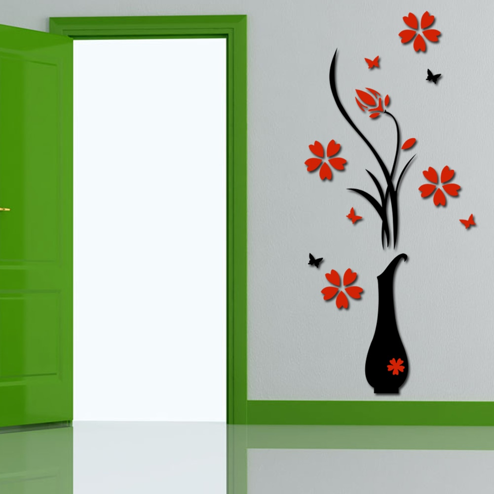 Fresh Flower Wall Stickers Acrylic 3D Plum Flower Vase Wall Stickers within Well-liked Floral Patterned Over The Door Wall Decor