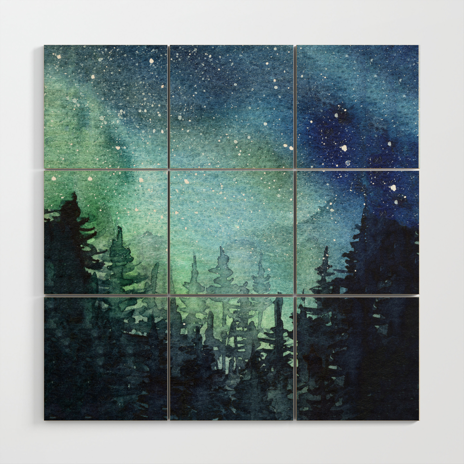 Galaxy Watercolor Aurora Borealis Painting Wood Wall Artolechka Throughout Famous Aurora Sun Wall Decor (View 12 of 20)