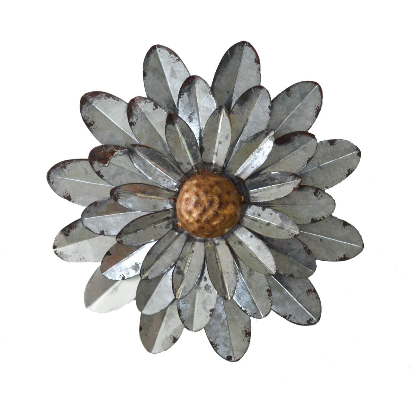 Galvanized Flowers Wall Décor Set Of 3 Metal Flower Wall Art Pertaining To Newest Metal Flower Wall Decor (Set Of 3) (Gallery 14 of 20)