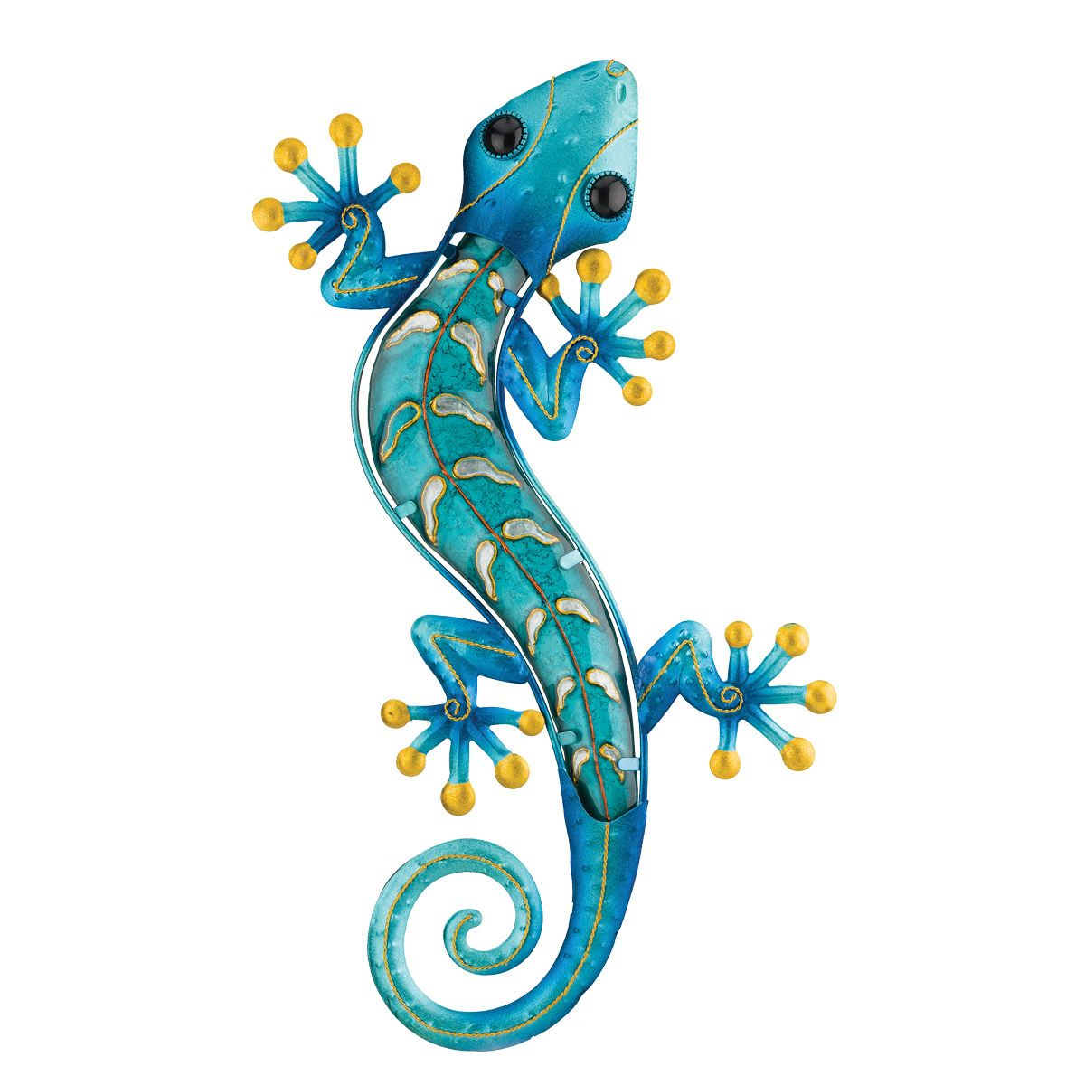 Gecko Wall Decor With Regard To Fashionable Rustic Metal Wall Art: Metal Gecko Wall Art – Blue (Gallery 3 of 20)