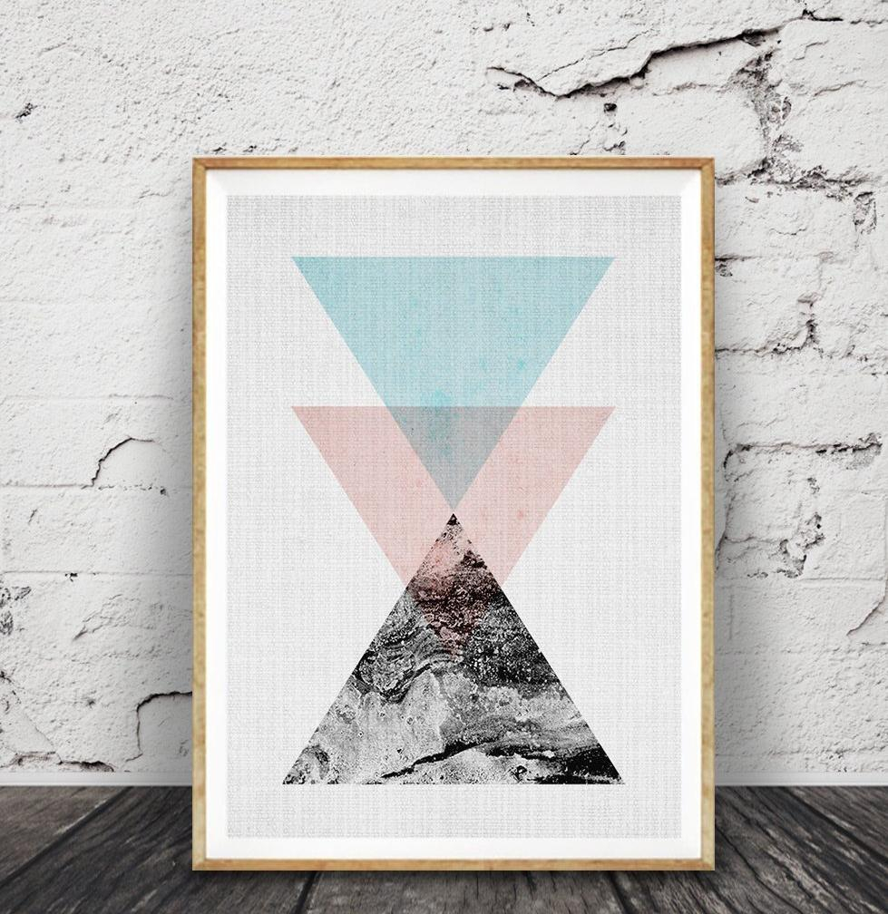 Geometric Wall Art, Triangle Print, Scandinavian, Minimalist Modern Pertaining To Most Recently Released Contemporary Geometric Wall Decor (Gallery 10 of 20)