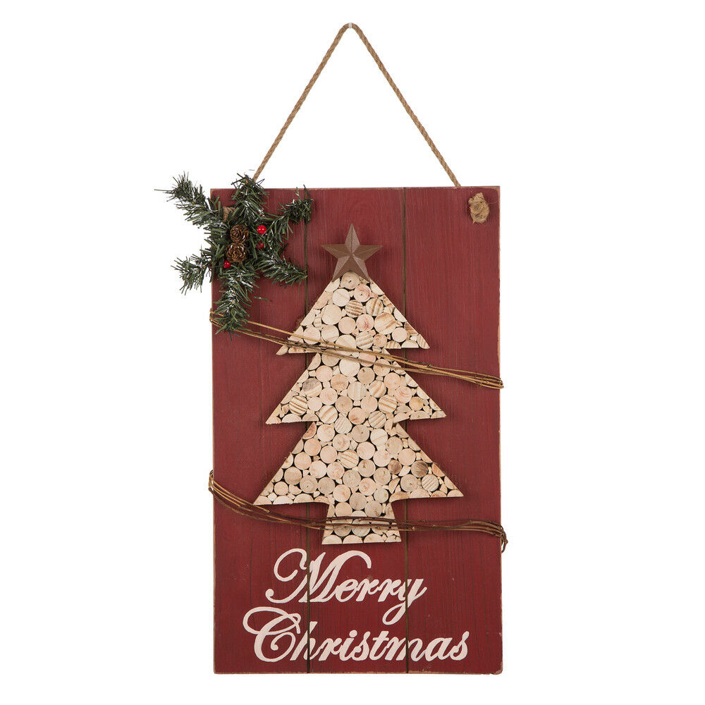 """Glitzhome 20""""h Wooden Christmas Tree Welcome Hanging Wall Sign Within Trendy Tree Welcome Sign Wall Decor (Gallery 15 of 20)"""