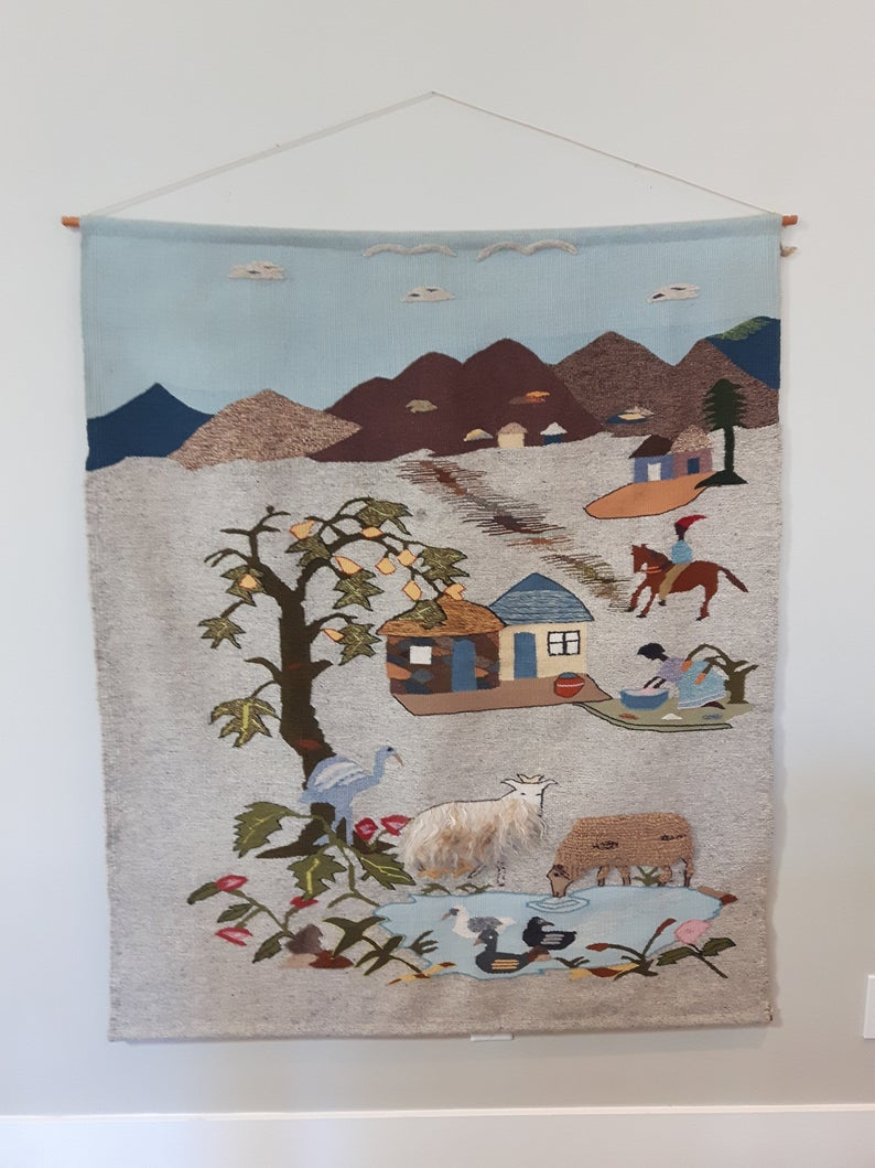 Handmade Hand Woven Wool Tapestry Large Wall Hanging South (Gallery 13 of 20)