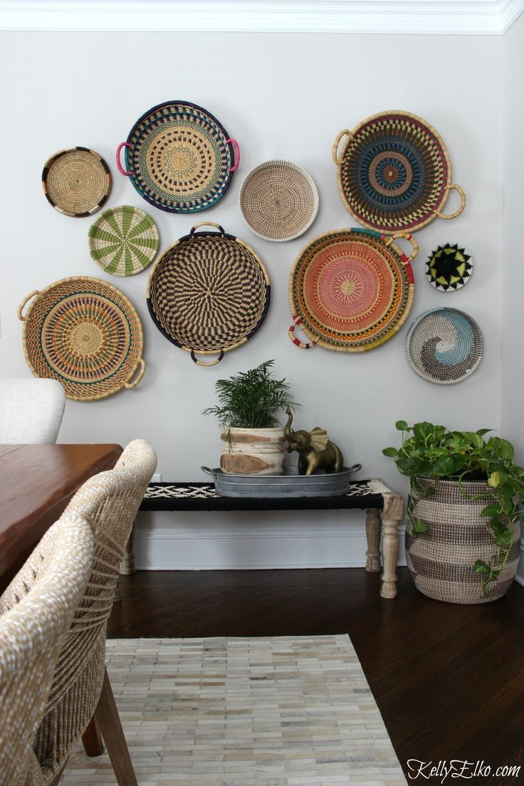 Home Decor Baskets Regarding 4 Piece Handwoven Wheel Wall Decor Sets (View 11 of 20)