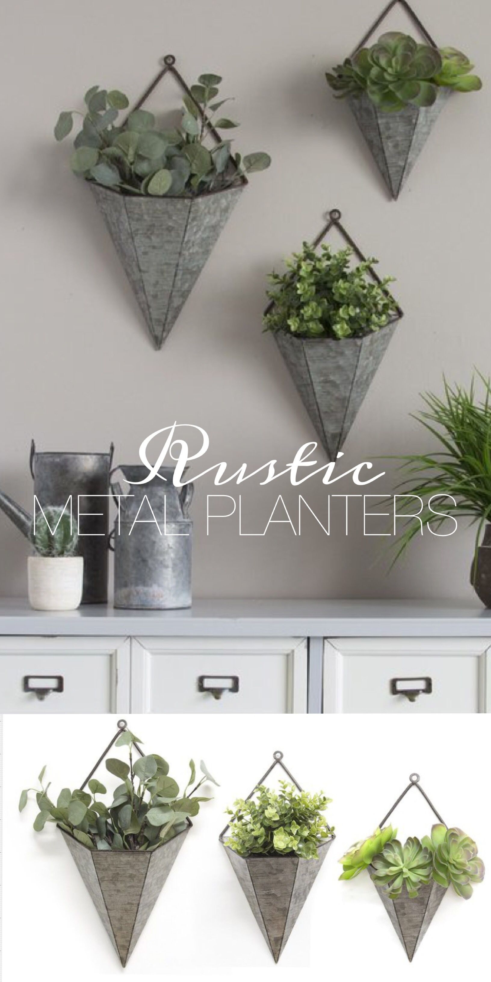 Home Decor Inside Farm Metal Wall Rack And 3 Tin Pot With Hanger Wall Decor (View 10 of 20)