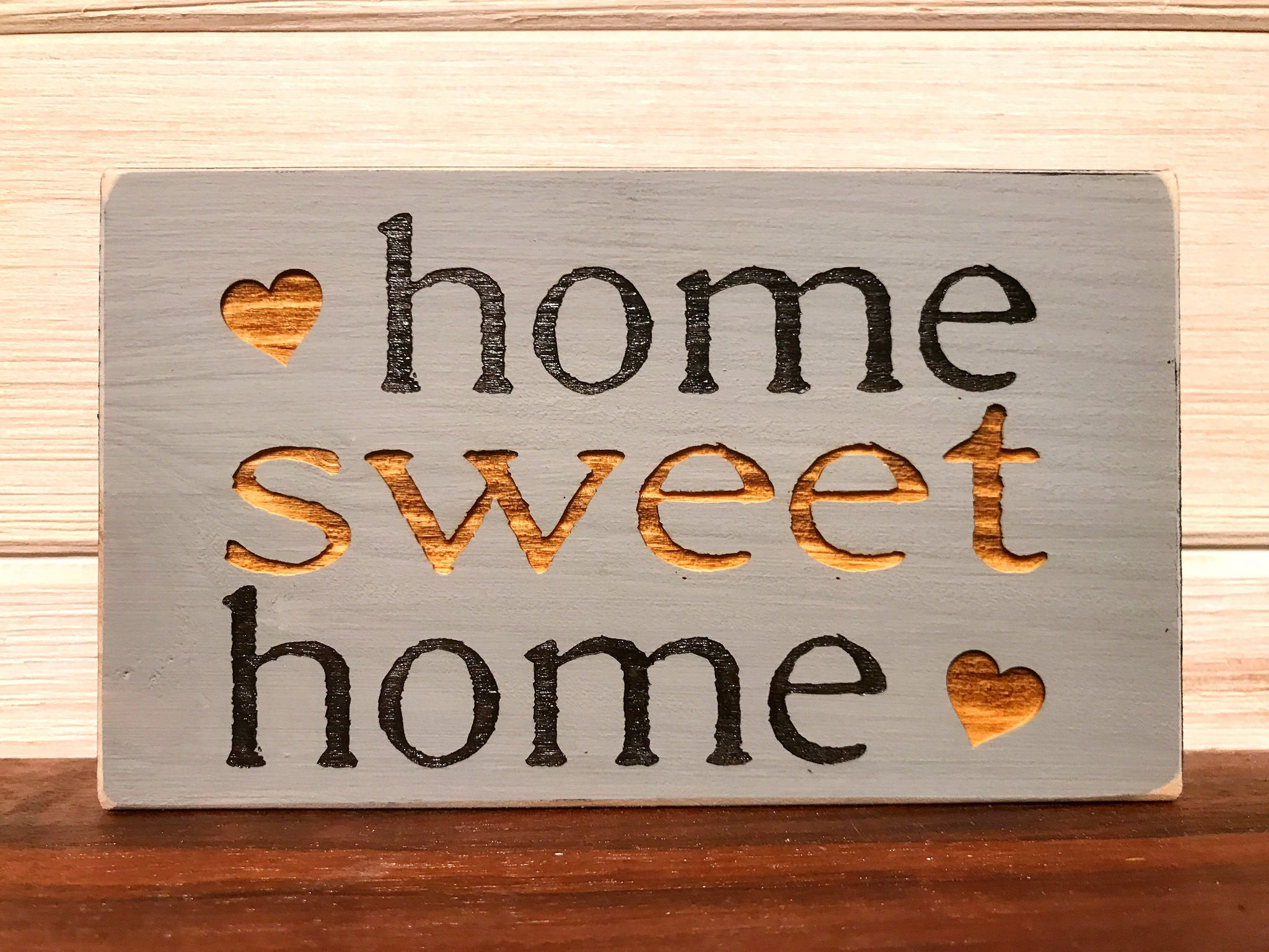 Home Sweet Home Block Wall Plaque Laser Engraved Personalized (View 8 of 20)