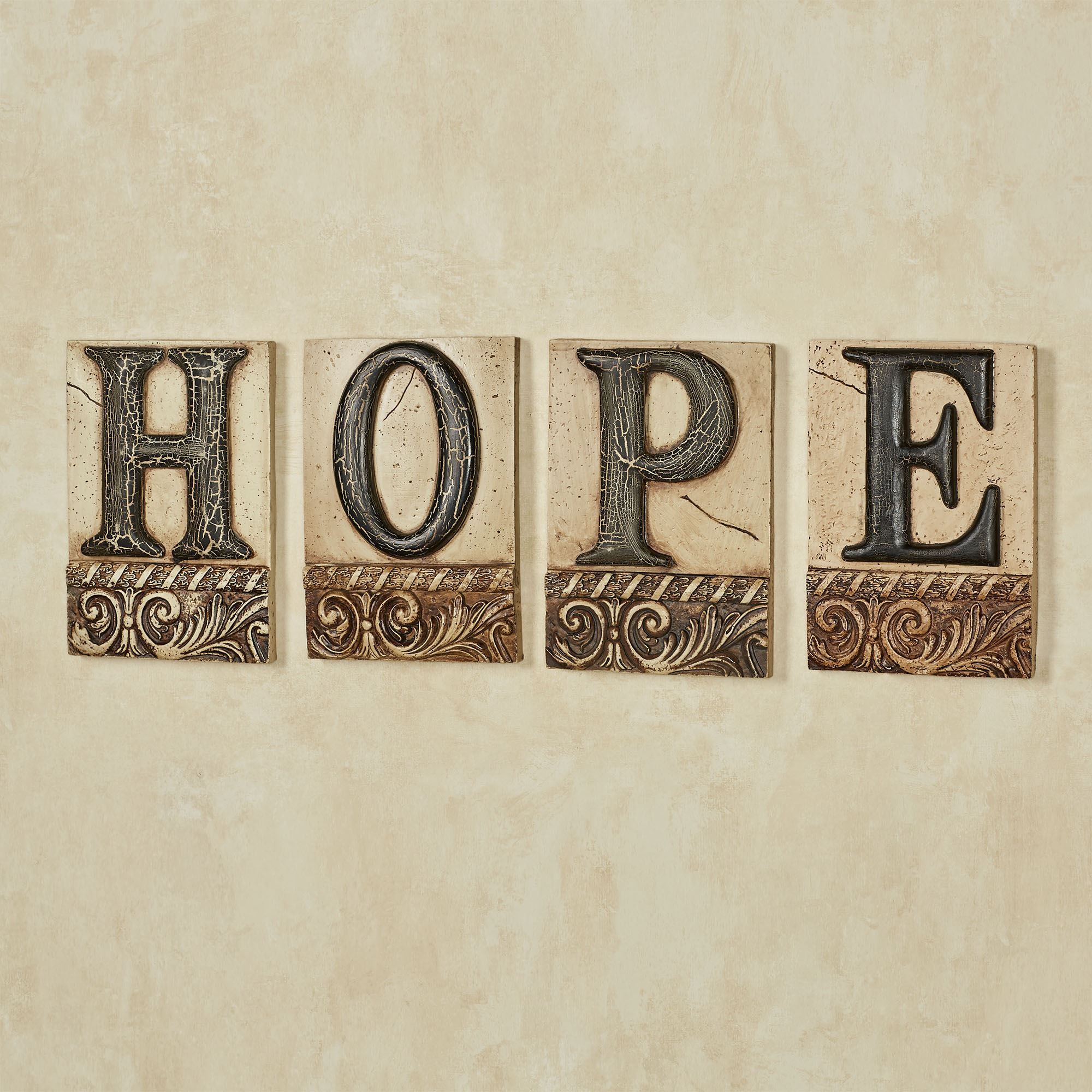 Hope Word Wall Art Tile Plaque Set Within Most Recently Released Faith, Hope, Love Raised Sign Wall Decor (Gallery 12 of 20)