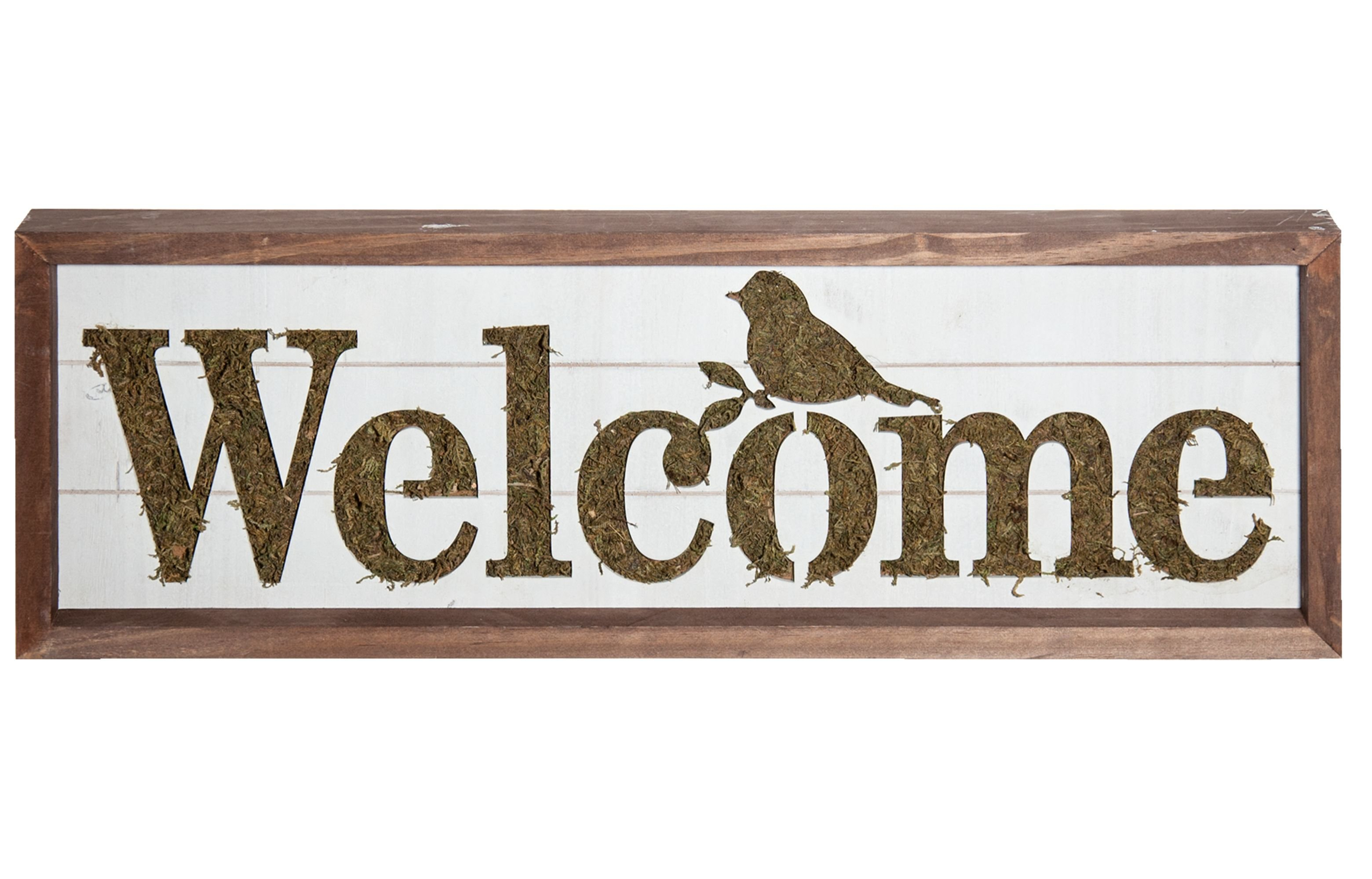 """In A Word """"welcome"""" Wall Decor Within Best And Newest Gracie Oaks Welcome Sign With Moss Accent Wall Décor (Gallery 4 of 20)"""