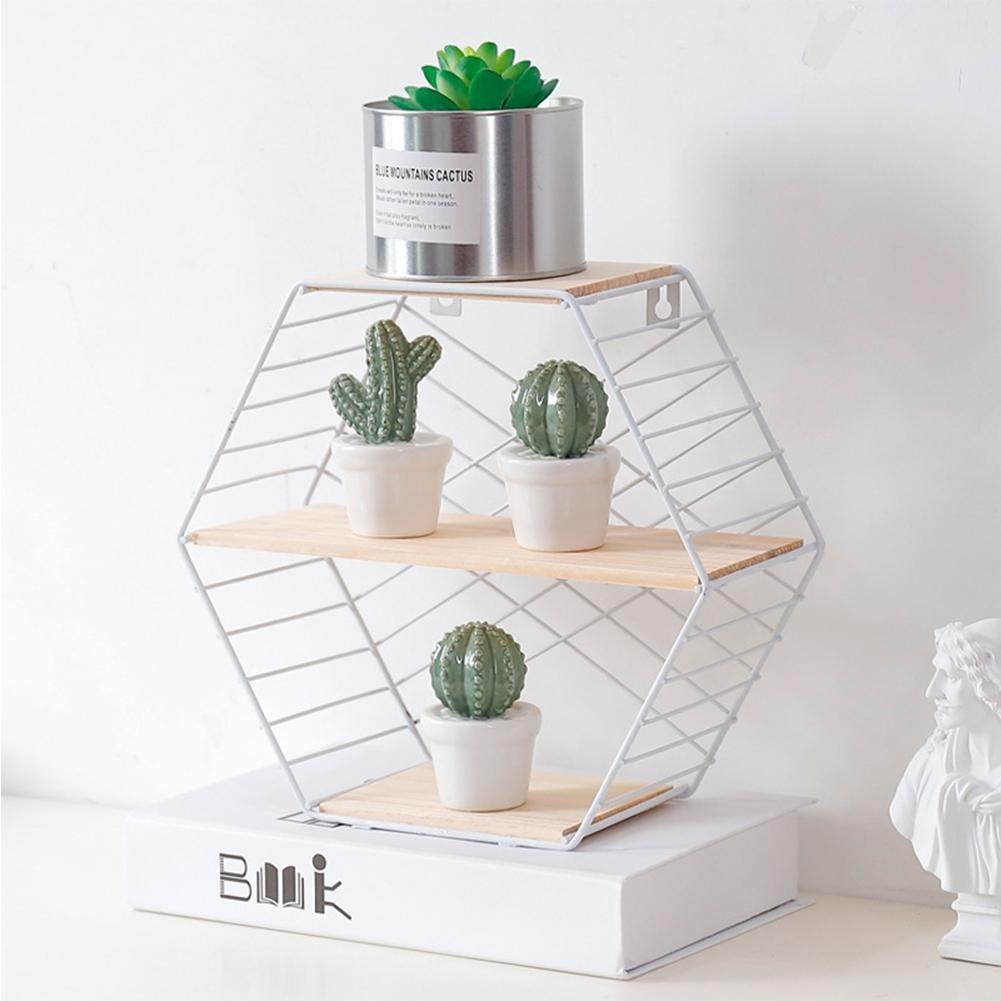 Innovative Wooden Home Bedroom Wall Storage Rack Simple Hexagon In Most Current Three Glass Holder Wall Decor (Gallery 12 of 20)