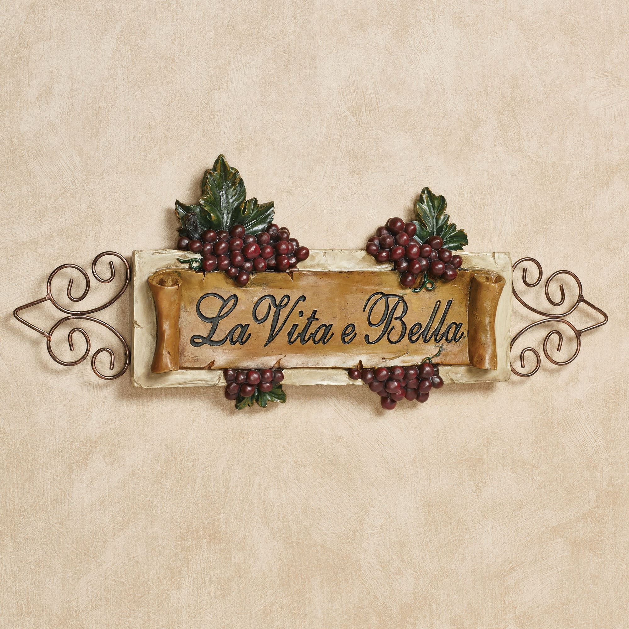 La Vita E Bella Wall Plaque Inside Best And Newest Belle Circular Scroll Wall Decor (View 11 of 20)