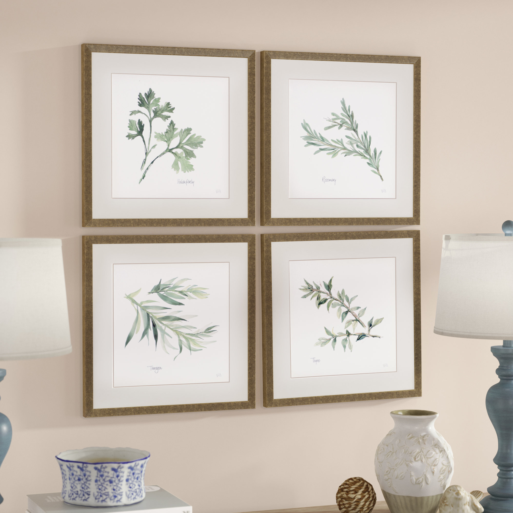 Latest 3 Piece Ceramic Flowers Wall Decor Sets For Lark Manor 'herbs' 4 Piece Framed Graphic Art Print Set & Reviews (View 13 of 20)