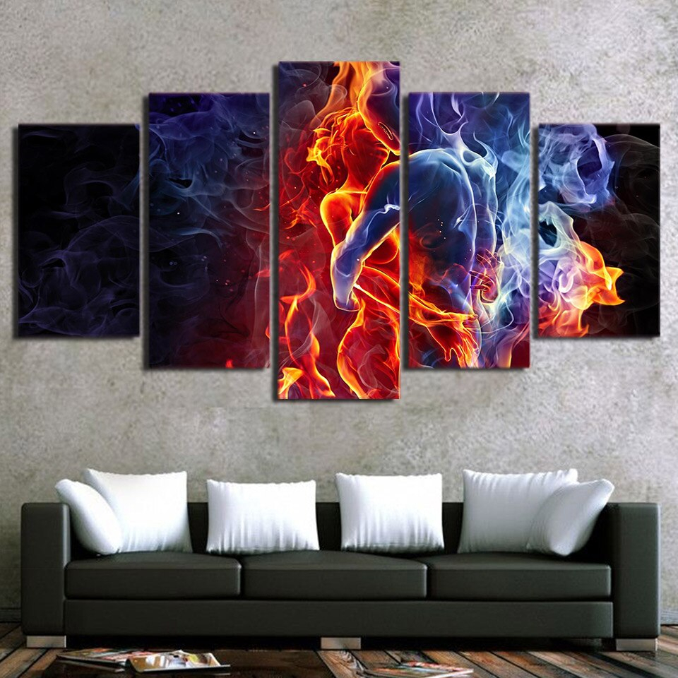 Latest 5 Panel Painting Hd Printed Flame Figures Human Hug Pictures Intended For Abstract Bar And Panel Wall Decor (View 10 of 20)