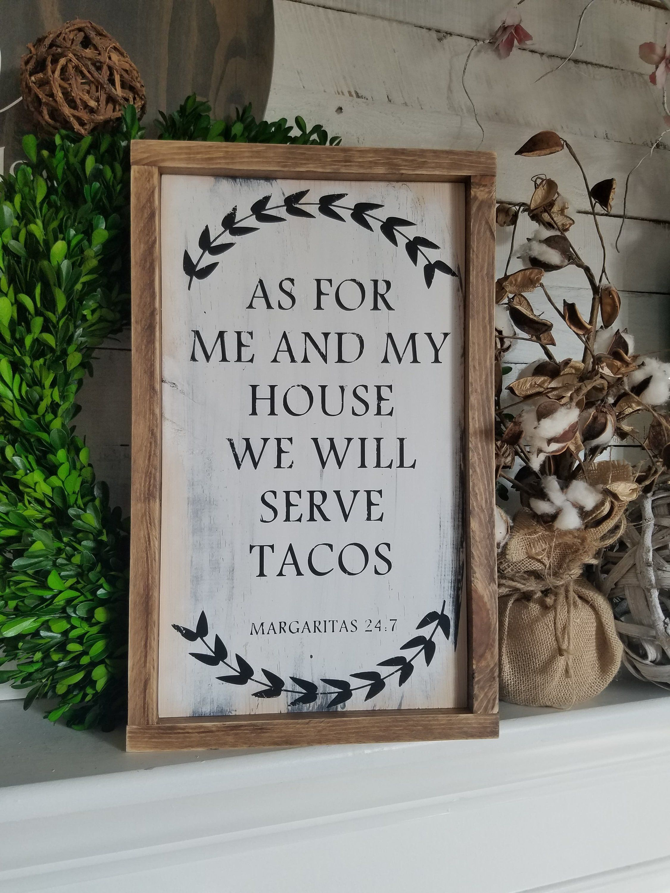 Latest Eat Rustic Farmhouse Wood Wall Decor For Wood Sign, As For Me And My House We Will Serve Tacos Sign, Rustic (View 15 of 20)