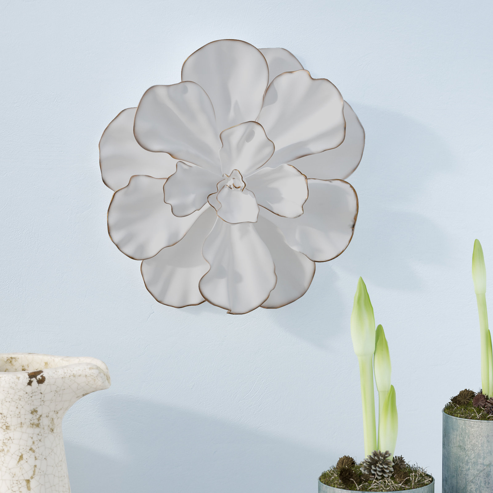 Latest Flower Wall Decor throughout Ophelia & Co. White/gold Flower Wall Décor & Reviews