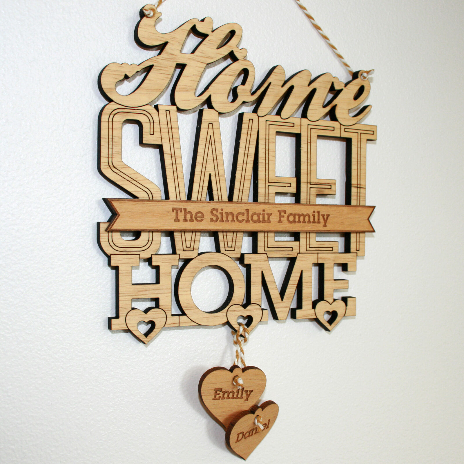 Latest Laser Engraved Home Sweet Home Wall Decor with Personalised 'home Sweet Home' House Warming Gift Plaque, New Home