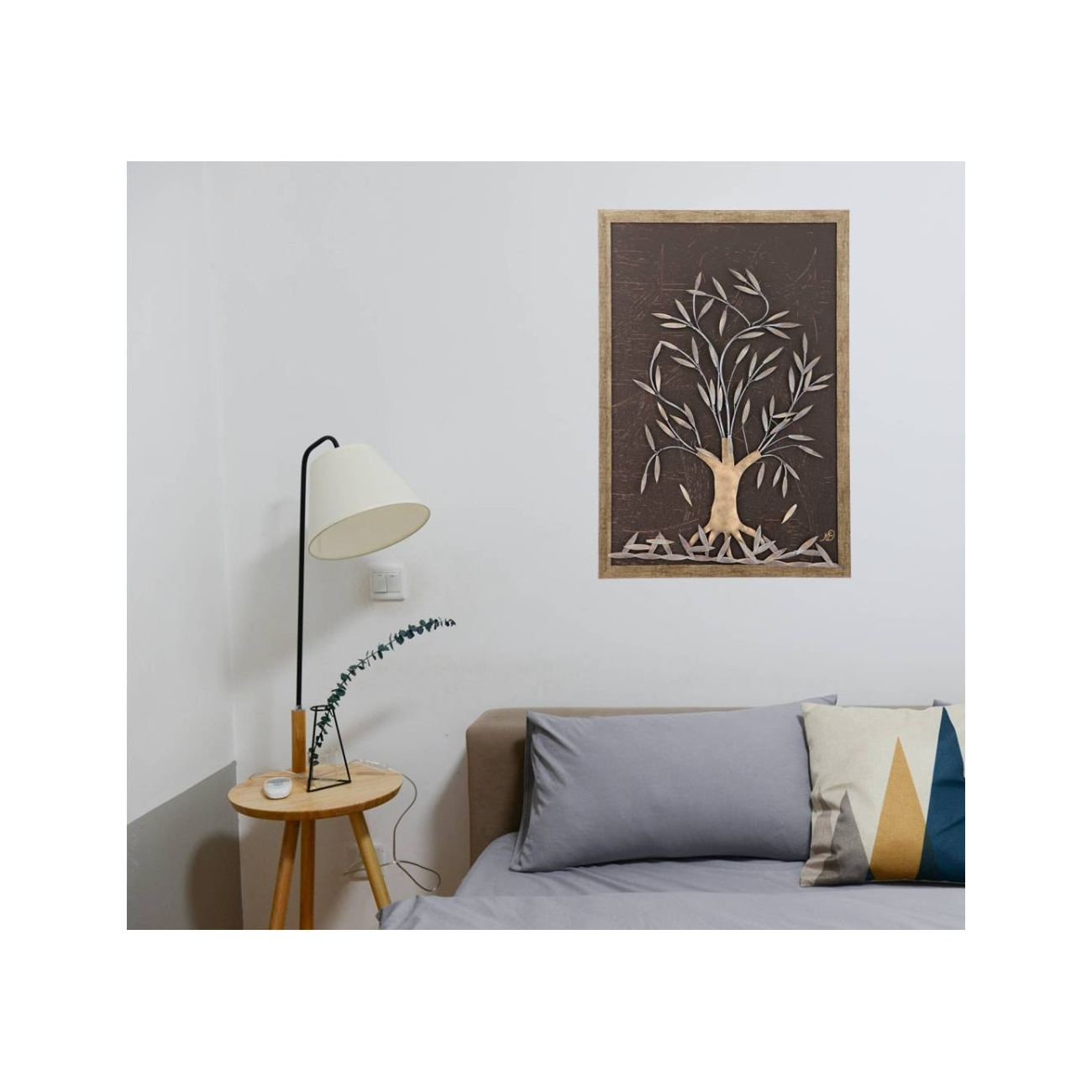"Latest Olive Tree, 3D Handmade Wood & Metal Wall Art Framed Decor, 25"" (64Cm) Inside Olive/gray Metal Wall Decor (View 8 of 20)"