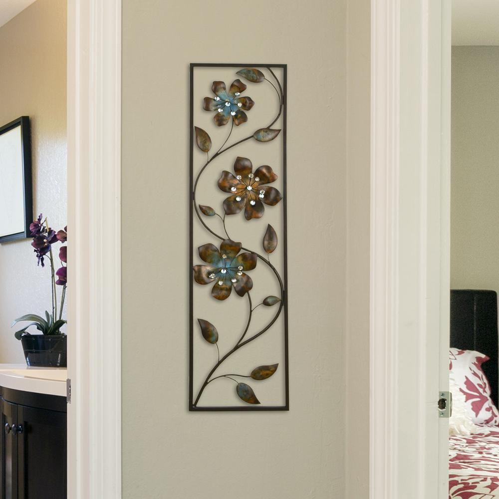 Latest Stratton Home Decor Metal Winding Flowers Wall Decor Shd0122 – The With Regard To Three Flowers On Vine Wall Decor (View 6 of 20)