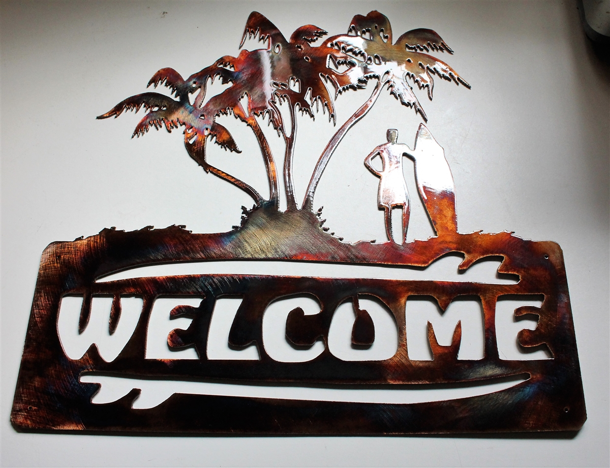 Latest Tree Welcome Sign Wall Decor with Palm Tree Surfer Welcome Sign Metal Wall Decor Copper/bronze Plated