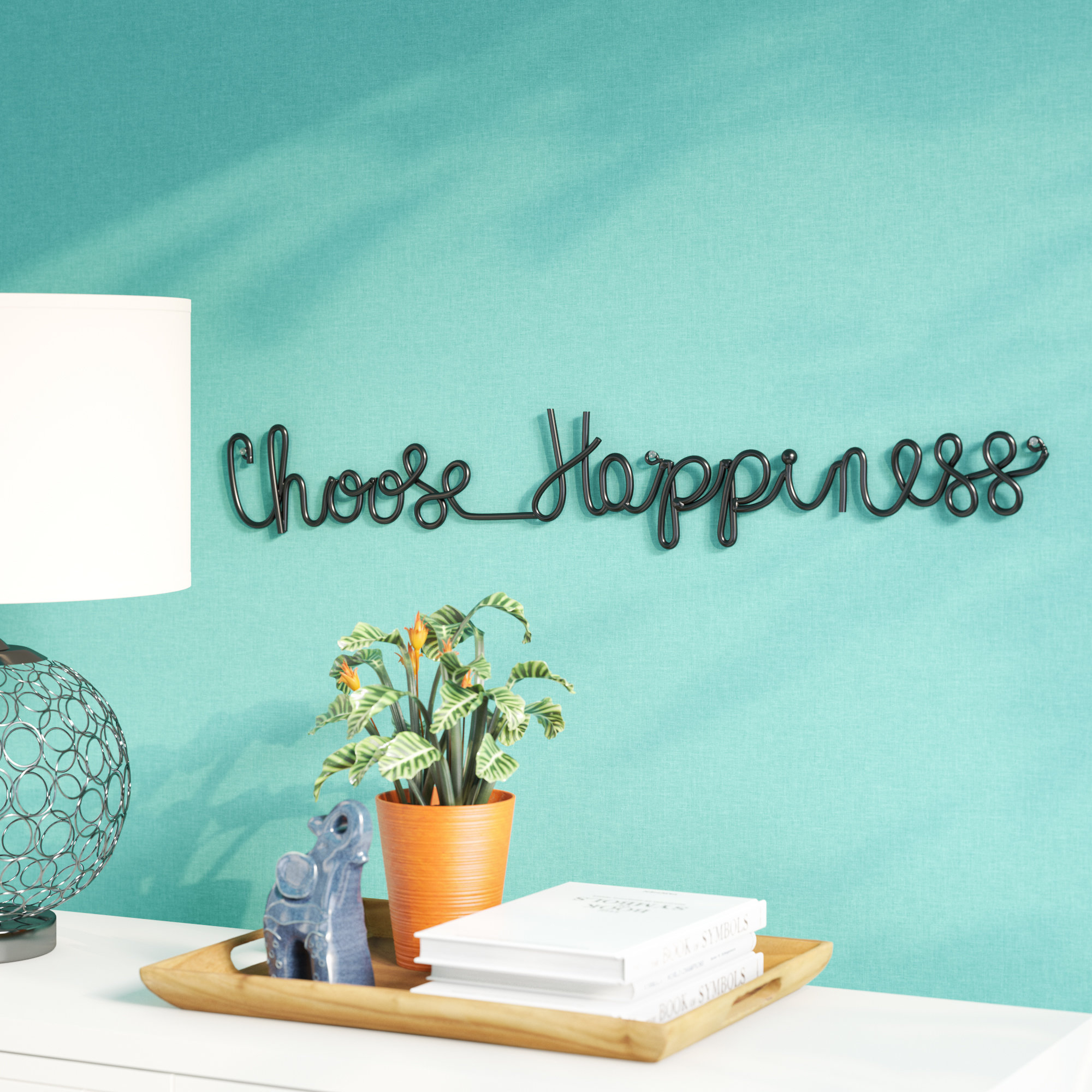 Featured Photo of Choose Happiness 3d Cursive Metal Wall Decor