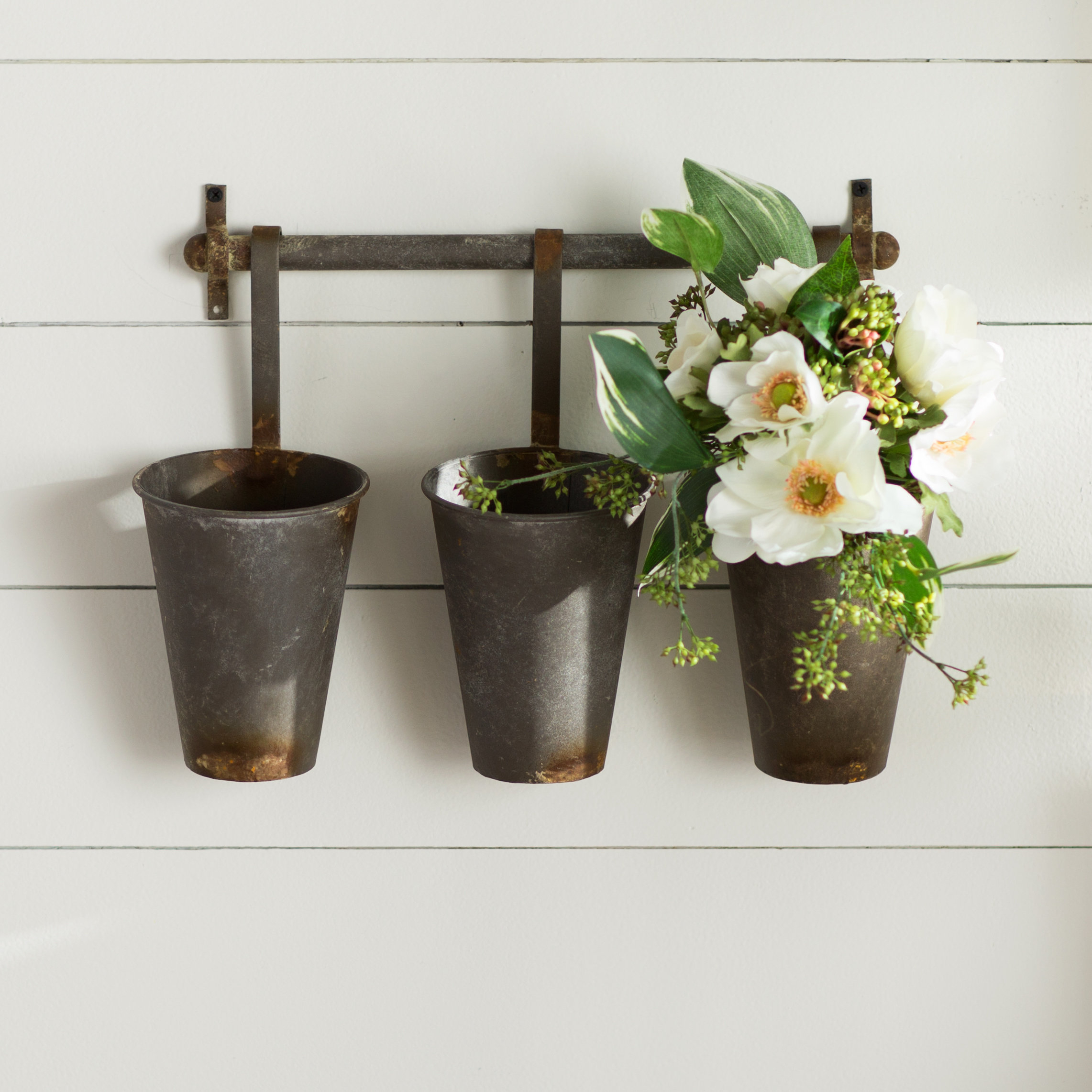 Laurel Foundry Modern Farmhouse Farm Metal Wall Rack And 3 Tin Pot Regarding Most Recently Released 3 Piece Wash, Brush, Comb Wall Decor Sets (Set Of 3) (View 11 of 20)