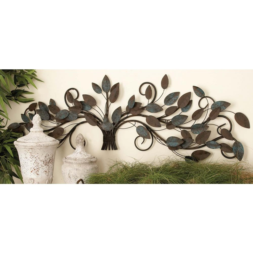 Leaves Metal Sculpture Wall Decor In Well Known Litton Lane 51 In. X 16 In (View 10 of 20)