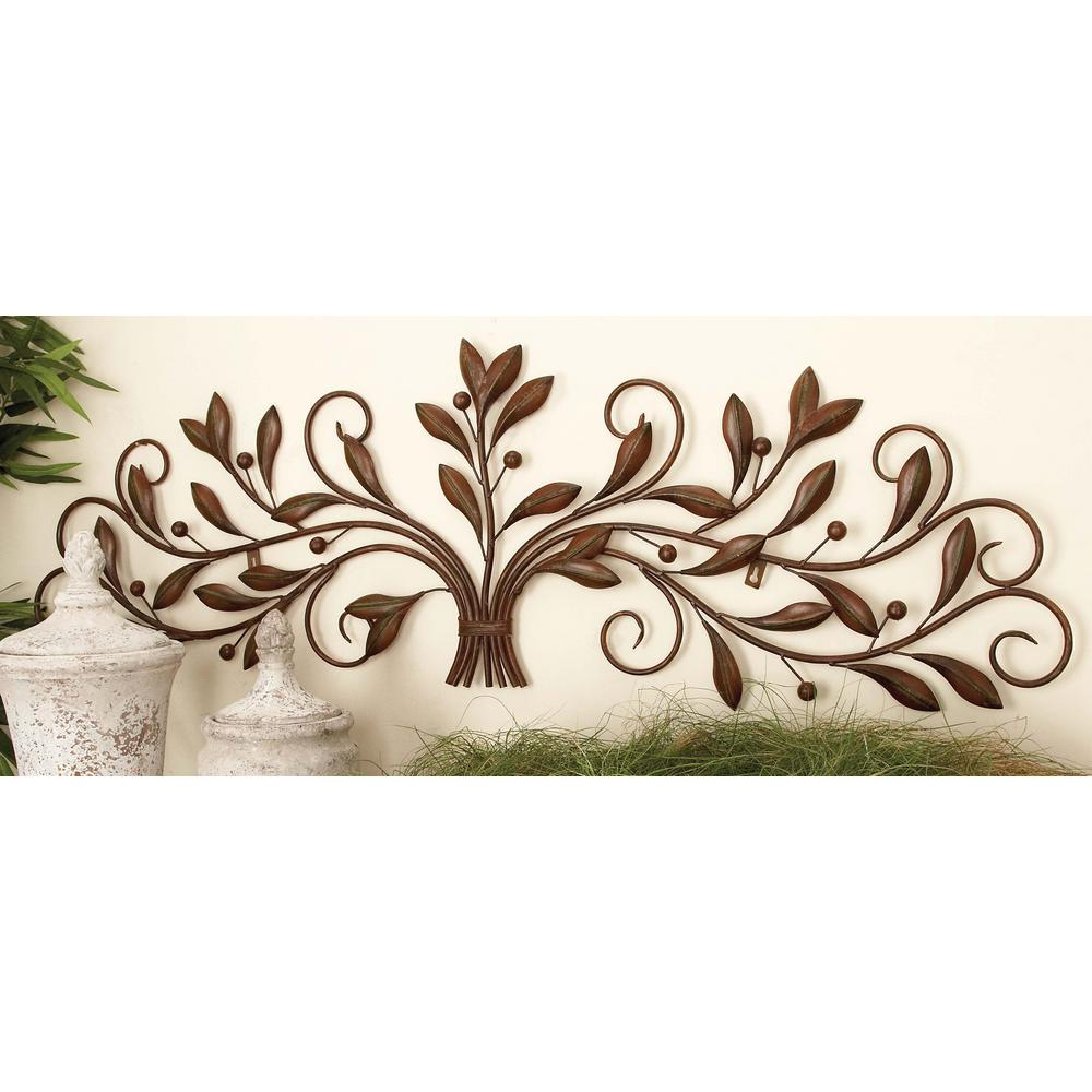 Leaves Metal Sculpture Wall Decor throughout Popular Litton Lane 47 In. New Traditional Brown Iron Leaves With Berries