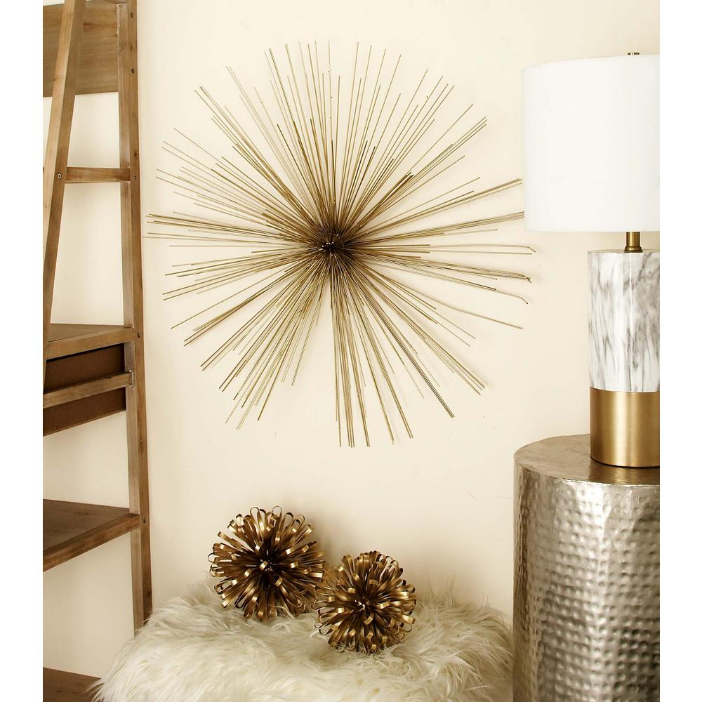 Litton Lane 32 In. Modern Gold Iron Wire Burst-Style Wall Decor intended for Best and Newest Starburst Wall Decor
