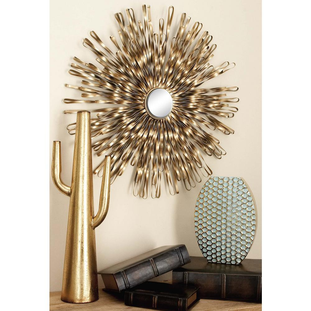 Litton Lane Modern Copper Gold Iron Band And Mirror Wall Decor (set Regarding Best And Newest Contemporary Abstract Round Wall Decor (View 16 of 20)