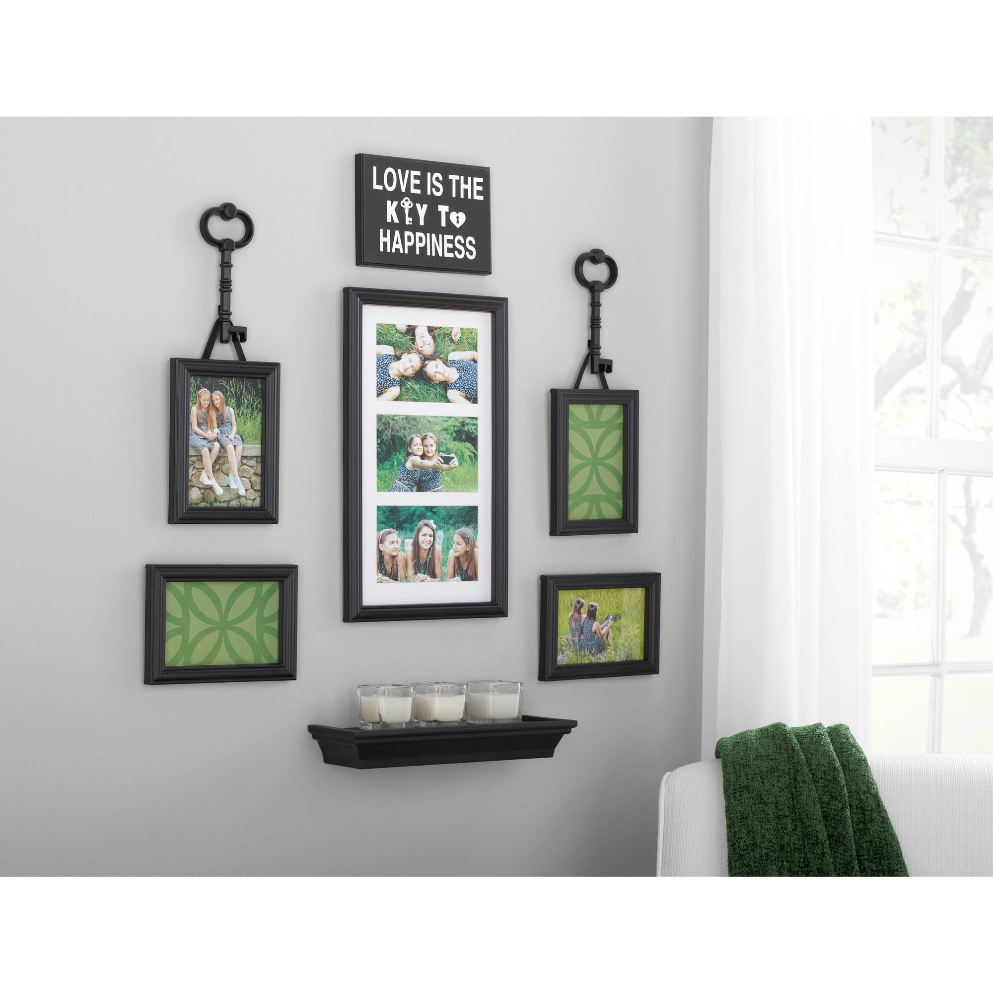 Mainstays 9 Piece Key Expression Wall Frame Set – Walmart In Popular 2 Piece Heart Shaped Fan Wall Decor Sets (View 10 of 20)