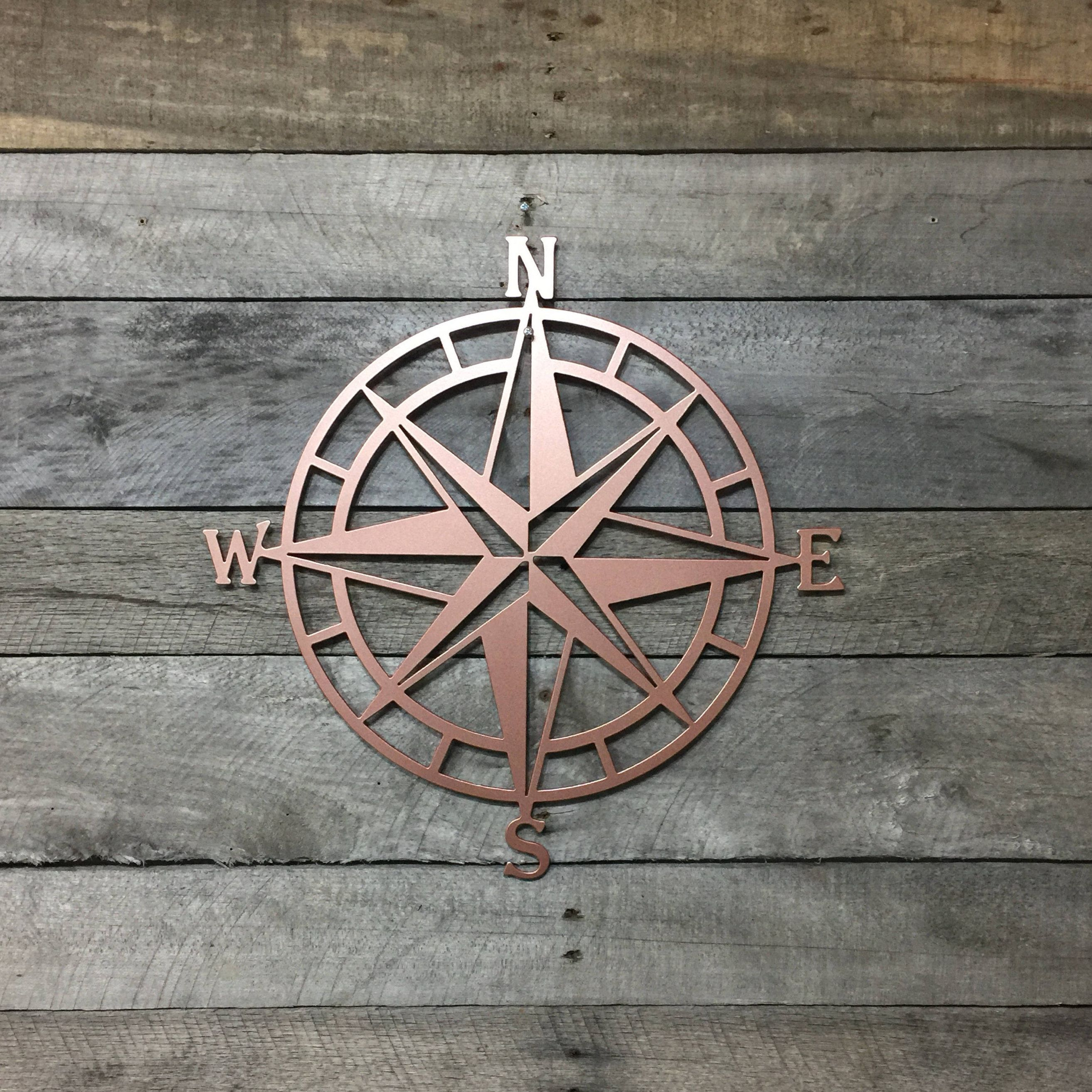 Metal Compass Rose Nautical Wall Art  Metal Wall Art/ Wall Hanging Intended For Most Recent Outdoor Metal Wall Compass (View 7 of 20)
