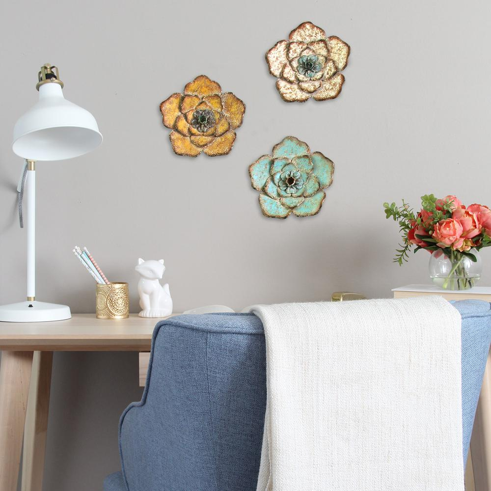 Metal Flower Wall Decor (set Of 3) In Best And Newest Stratton Home Decor Rustic Metal Flower Wall Decor (set Of 3) S (View 12 of 20)