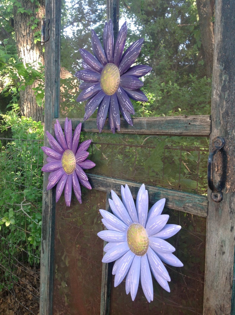 Metal Flower Wall Decor (set Of 3) In Well Known Metal Flower Wall Art Shades Of Purple Set Of 3 Daisies (View 8 of 20)