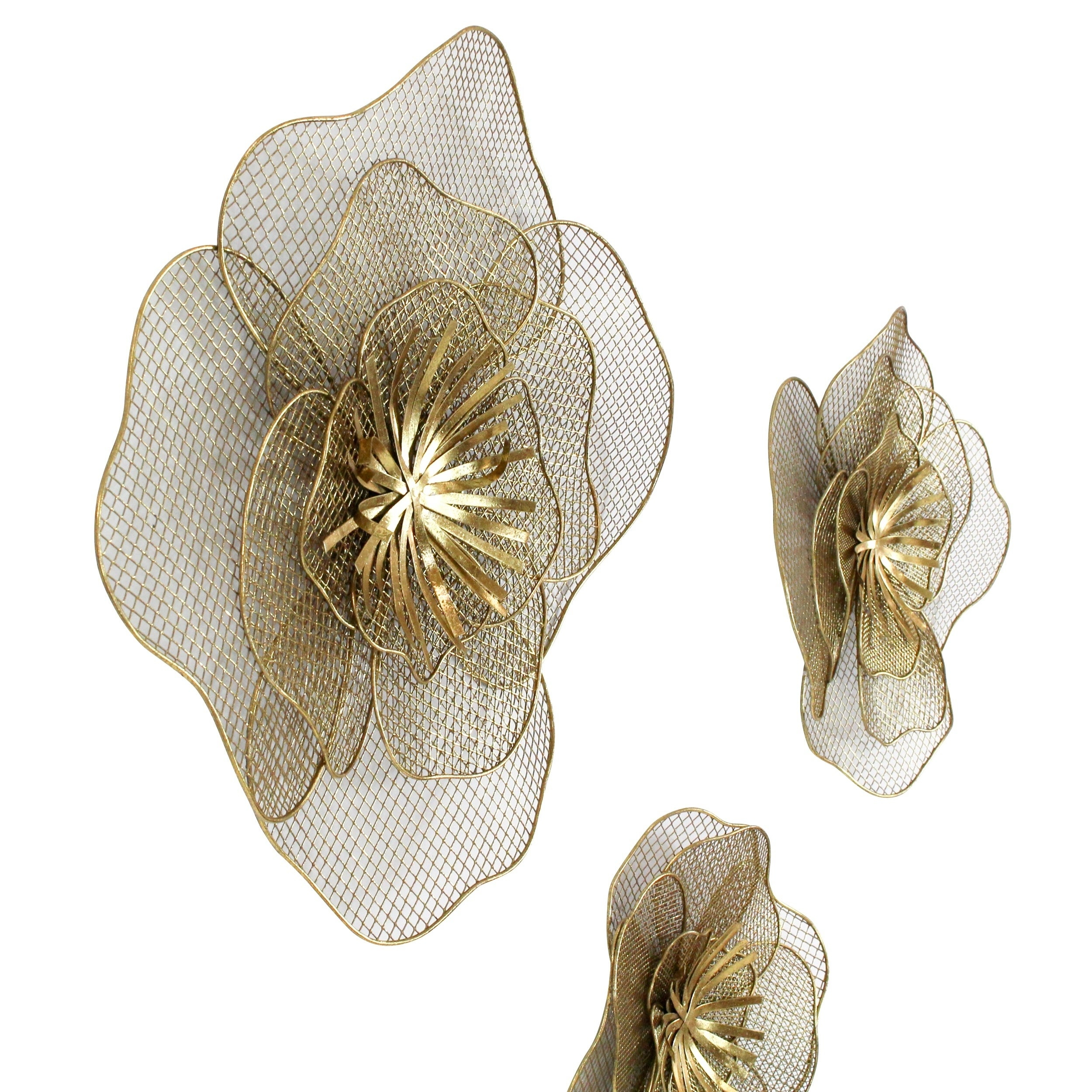 Metal Flower Wall Decor (Set Of 3) Inside Best And Newest Shop Lori Metal Flowers Wall Decor (Set Of 3) – Free Shipping Today (View 7 of 20)