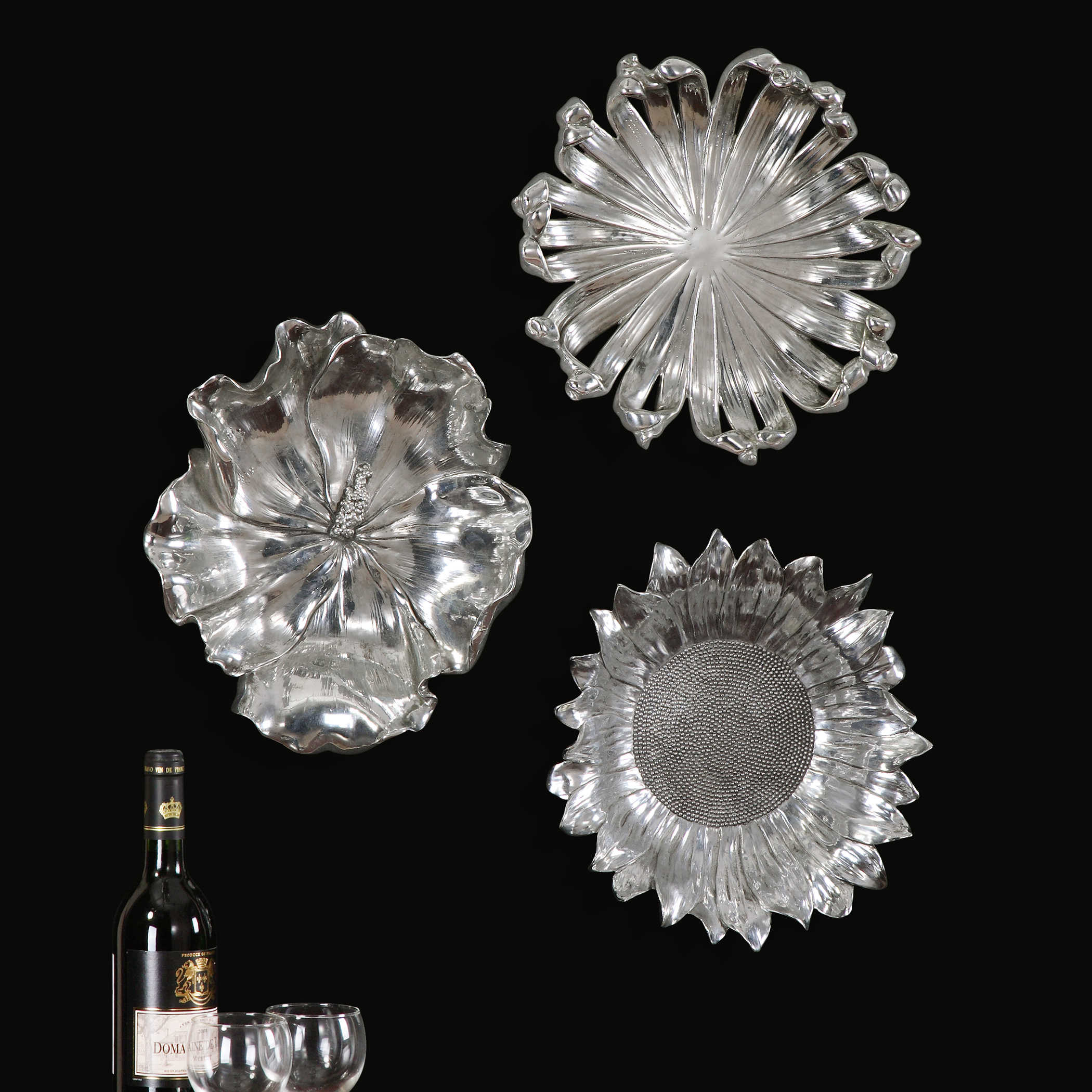 Metal Flower Wall Decor (set Of 3) With Recent Uttermost Silver Flowers Wall Art, Set/ (View 10 of 20)
