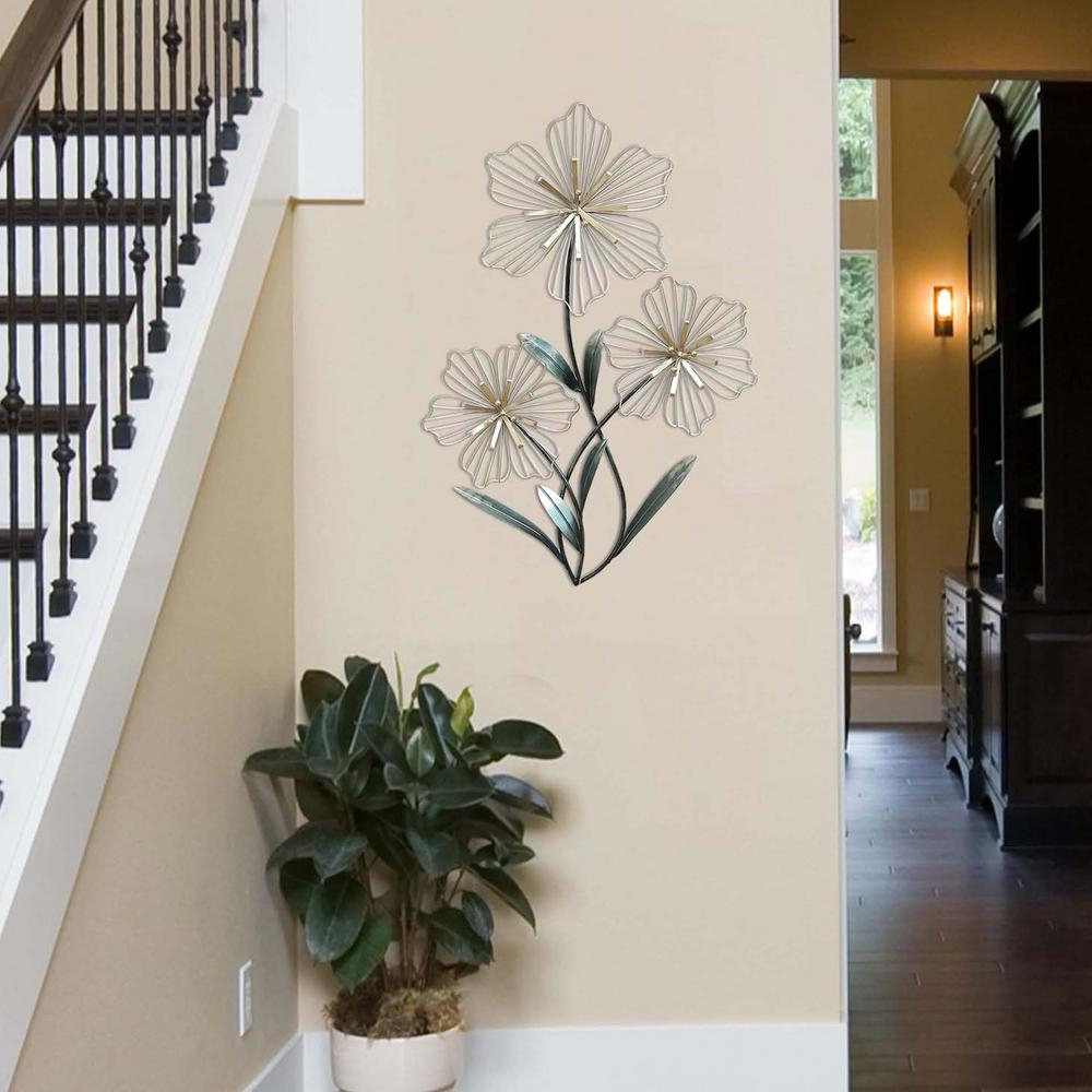 Metal Leaf Wall Decor By Red Barrel Studio Throughout Well Known Stratton Home Decor Stratton Home Decor Tri Flower Wall Decor (View 8 of 20)