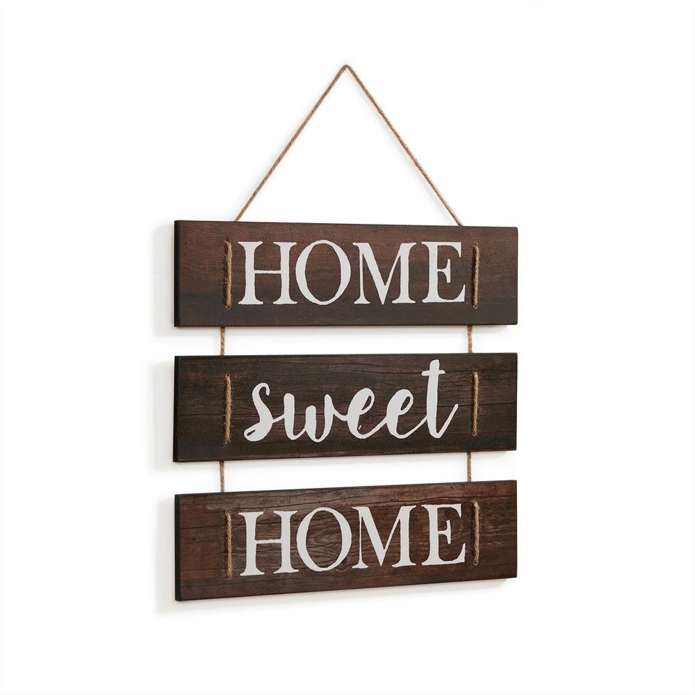 Metal Rope Wall Sign Wall Decor Regarding Most Recent Danya B Inspirational Home Sweet Home Wooden Wall Hanging Sign With (View 7 of 20)