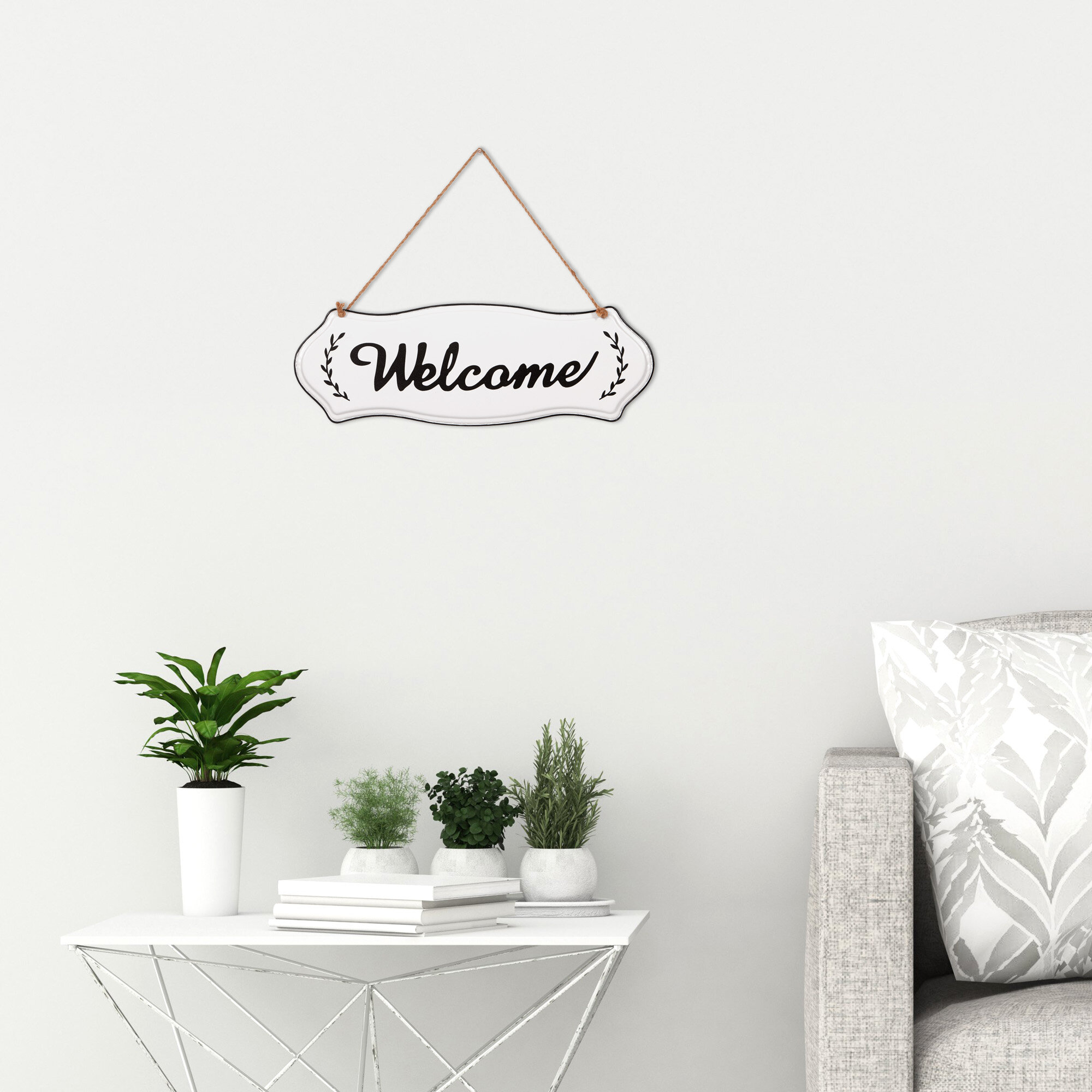 Metal Rope Wall Sign Wall Decor Throughout Well Known Gracie Oaks Hand Painted Welcome Tin Enamel Wall Sign With Jute Rope (View 13 of 20)