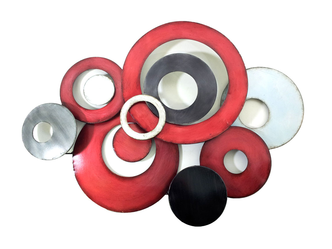 Metal Wall Art – Red Linked Circle Disc Abstract Within Favorite Belle Circular Scroll Wall Decor (View 12 of 20)