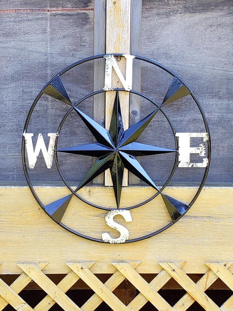 Metal Wall Compass/ Metal Compass Rose/ Black Wall Compass/ (View 8 of 20)