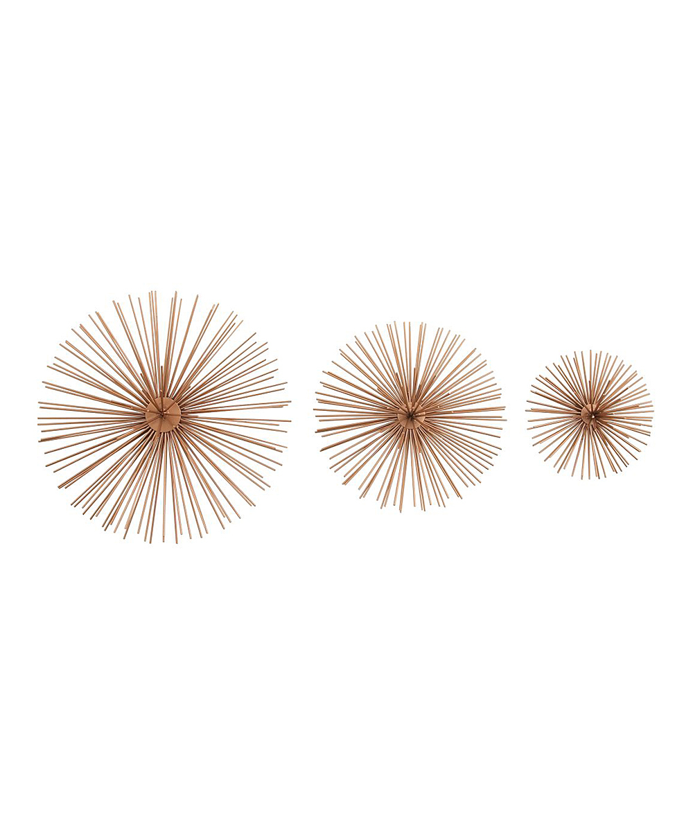 Metal Wall Decor By Cosmoliving Throughout Most Recent Cosmolivingcosmopolitan Coppertone Starburst Wall Décor – Set Of (View 13 of 20)