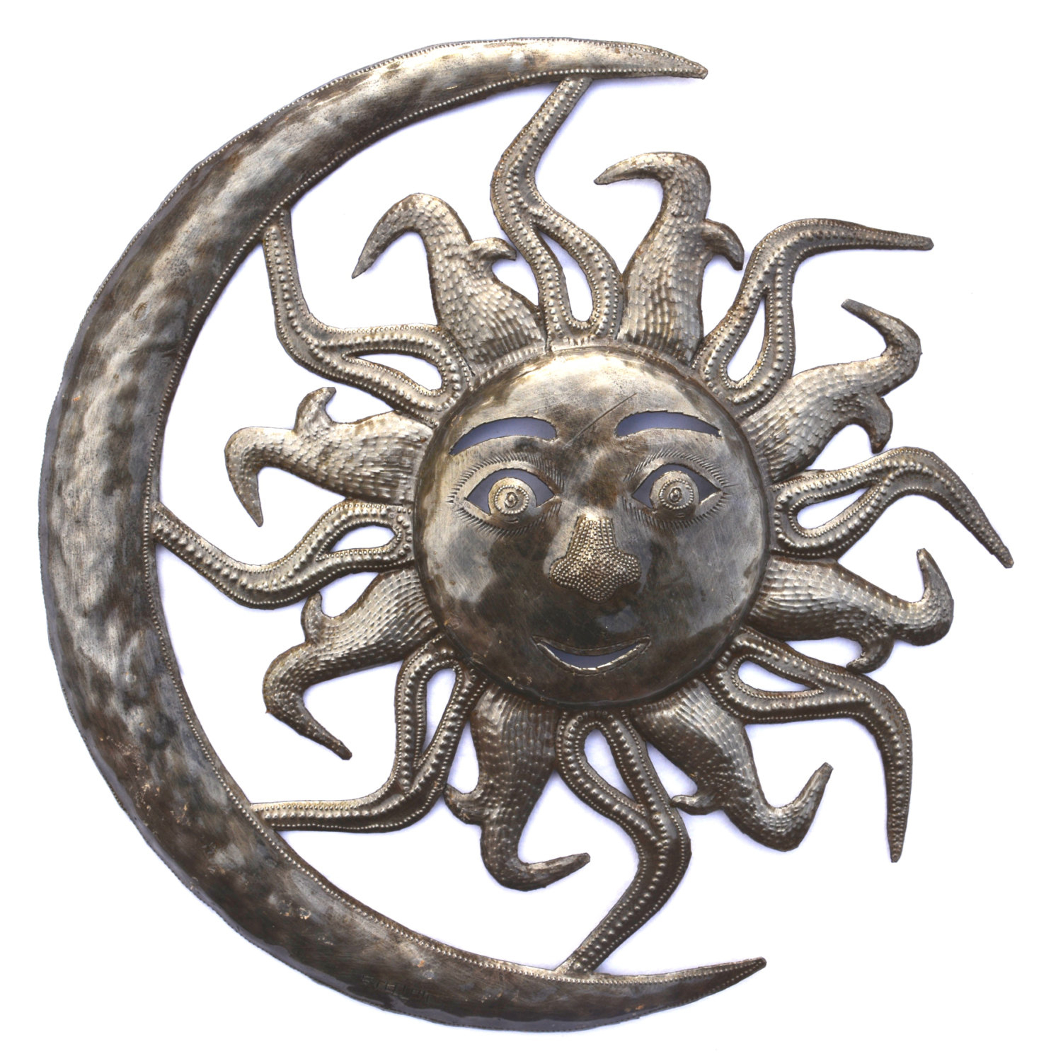 Moon And Sun – Haitian Metal Art Wall Hanging – Metal Wall Art Pertaining To Well Known Recycled Moon And Sun Wall Decor (View 10 of 20)