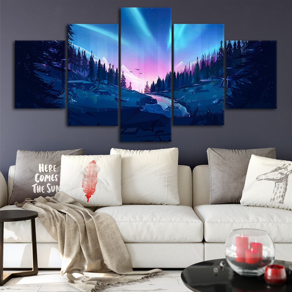 Most Current 2019 The Aurora Forest Canvas Posters Home Decor Wall Art Framework Inside Aurora Sun Wall Decor (View 9 of 20)