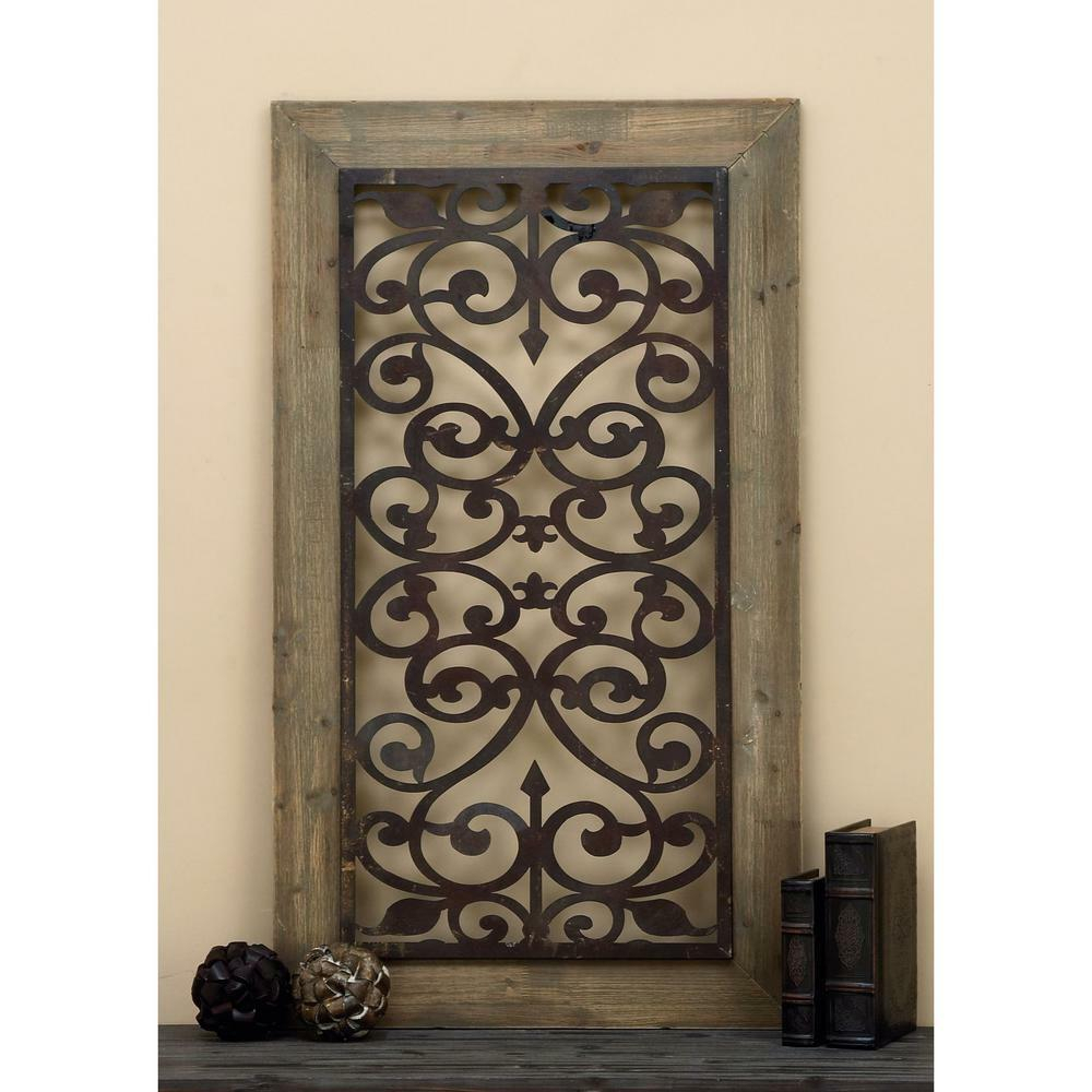 Most Current 26 In X 46 In Distressed Wood Metal Wall Art Sculpture Panel Scroll Throughout Ornamental Wood And Metal Scroll Wall Decor (View 8 of 20)