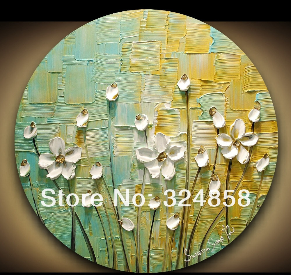 Most Current Abstract Art Impasto Green Yellow White Blossom Modern Palette Knife For Contemporary Abstract Round Wall Decor (View 11 of 20)