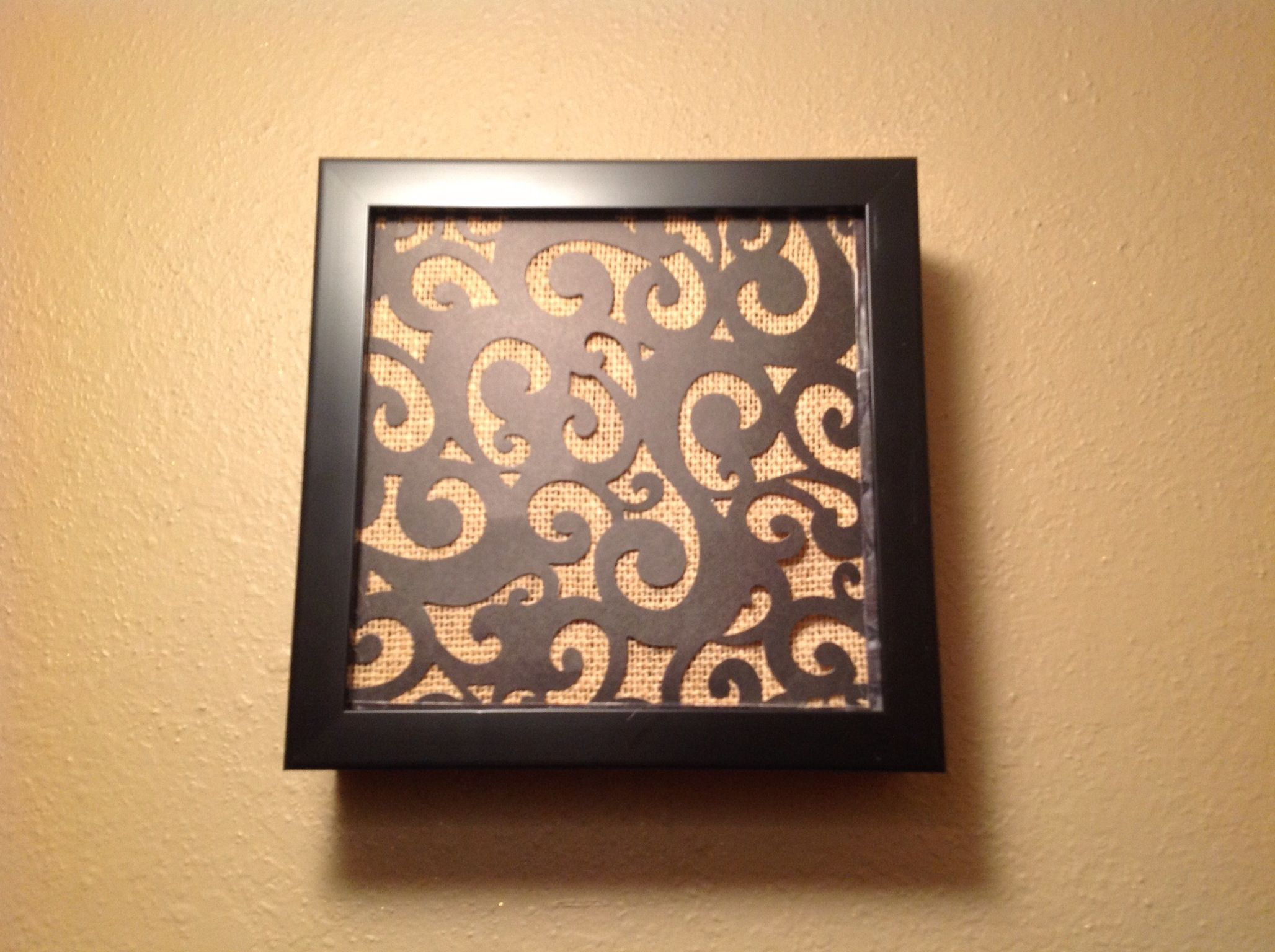 Most Current Belle Circular Scroll Wall Decor With Regard To Door Bell Chime Cover Made From Shadow Box, Burlap And Black Scroll (View 13 of 20)