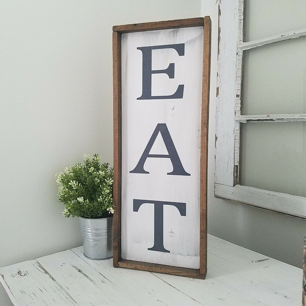 Most Current Eat Farmhouse Kitchen Sign Rustic Kitchen Decor Vertical Eat Large Within Eat Rustic Farmhouse Wood Wall Decor (View 5 of 20)